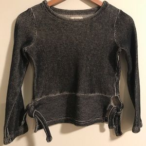 Madewell French Rib Side Tie Pullover Sweater